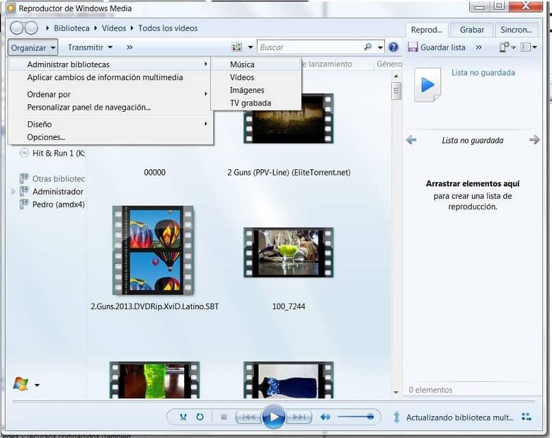 Windows Media Player na opção Gerenciar Biblioteca