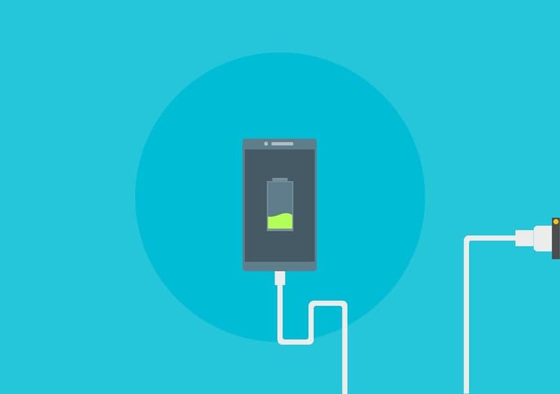 telefone conectado a uma fonte de alimentação mostra o processo de carregamento da bateria